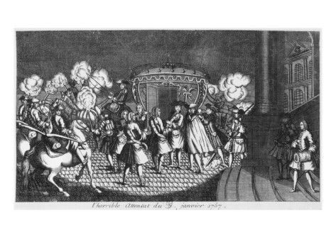Assassination Attempt on King Louis XV (1710-74) by Robert Francois Damiens on 5th January 1757 Giclee Print by French at AllPosters.com