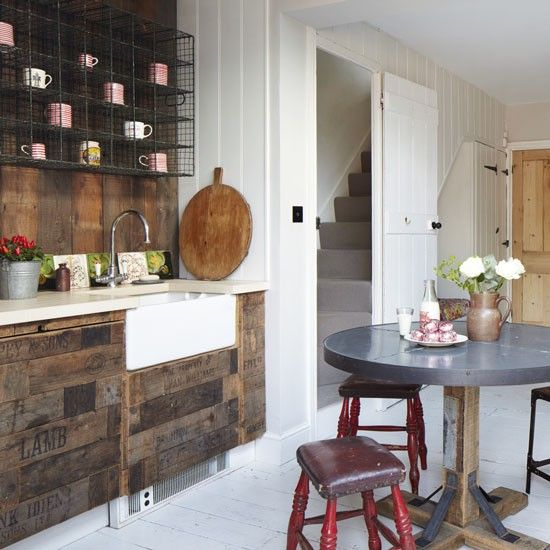 Practical splashback in an upcycled kitchen