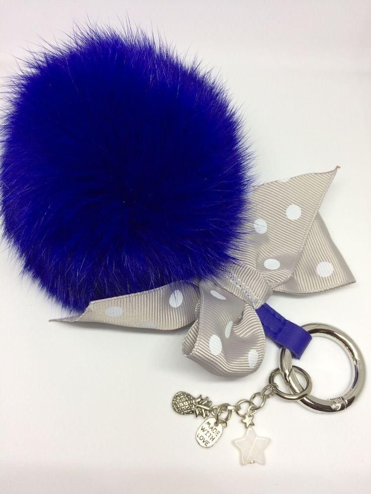 Gros Porte-clés pompon fourrure très tendance : Porte clés par coeur-2-filles