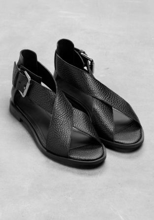 I love these black leather sandals with wide straps, by & Other Stories.