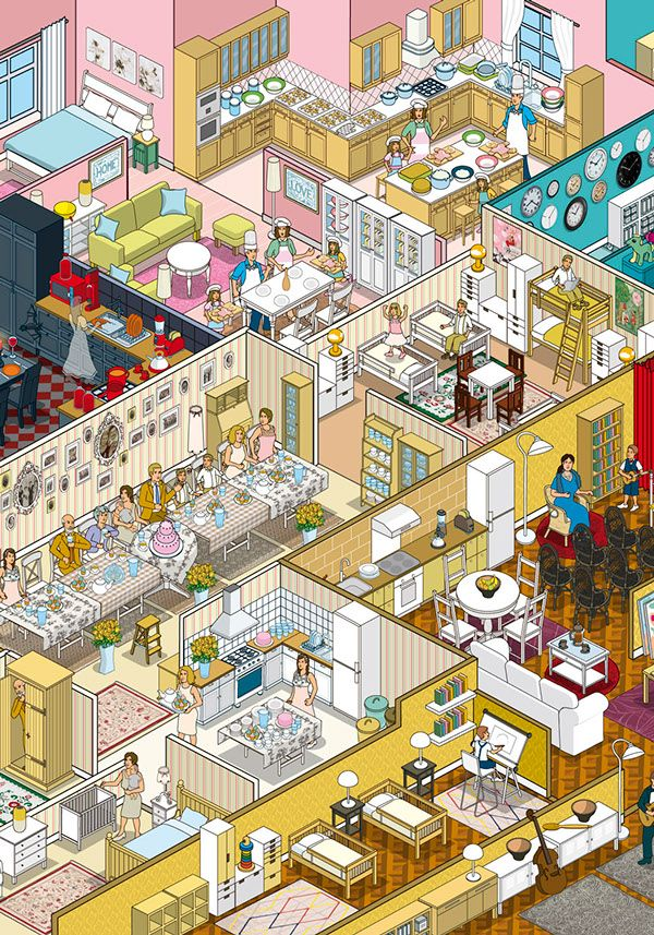 Detailed Illustration Shows How IKEA's Products Suit Everyone's Lifestyle - DesignTAXI.com