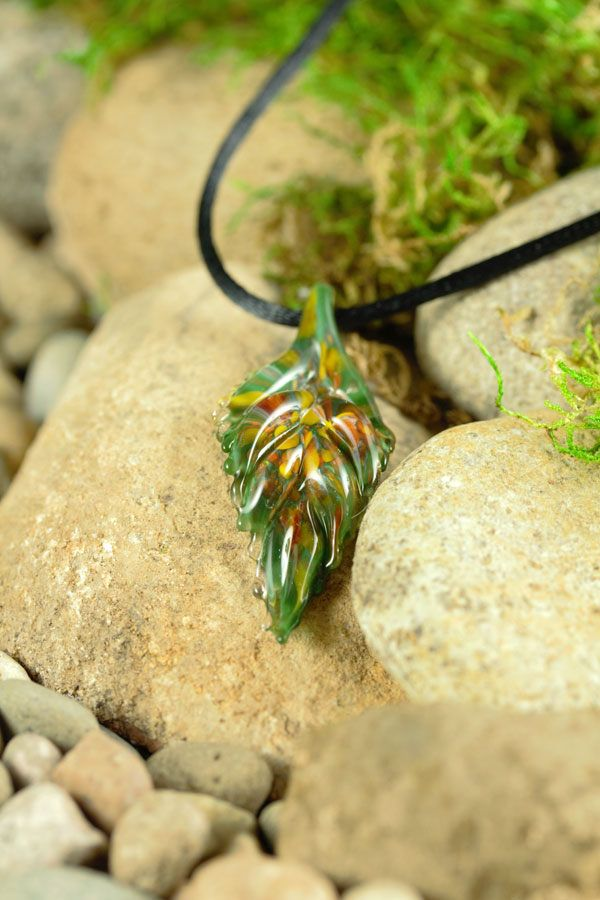 The 30 best lampwork glass nature etsy jewelry ooak natural green hand blown lampwork glass leaf pendant necklace borosilicate boro glass fall ooak art jewelry autumn leaves handmade jewelry mozeypictures Choice Image