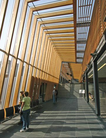 The Prince George Airport project features an innovative building envelope and use of heavy exposed timber in the structure. Exposed structure reveals form.