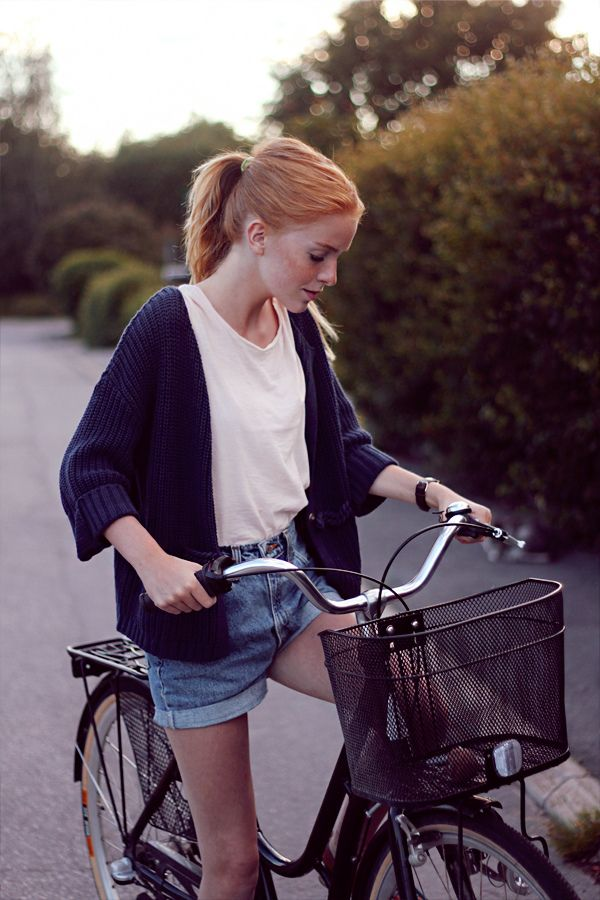 High waisted longer inseam shorts with tucked in shirt and drapey sweeter