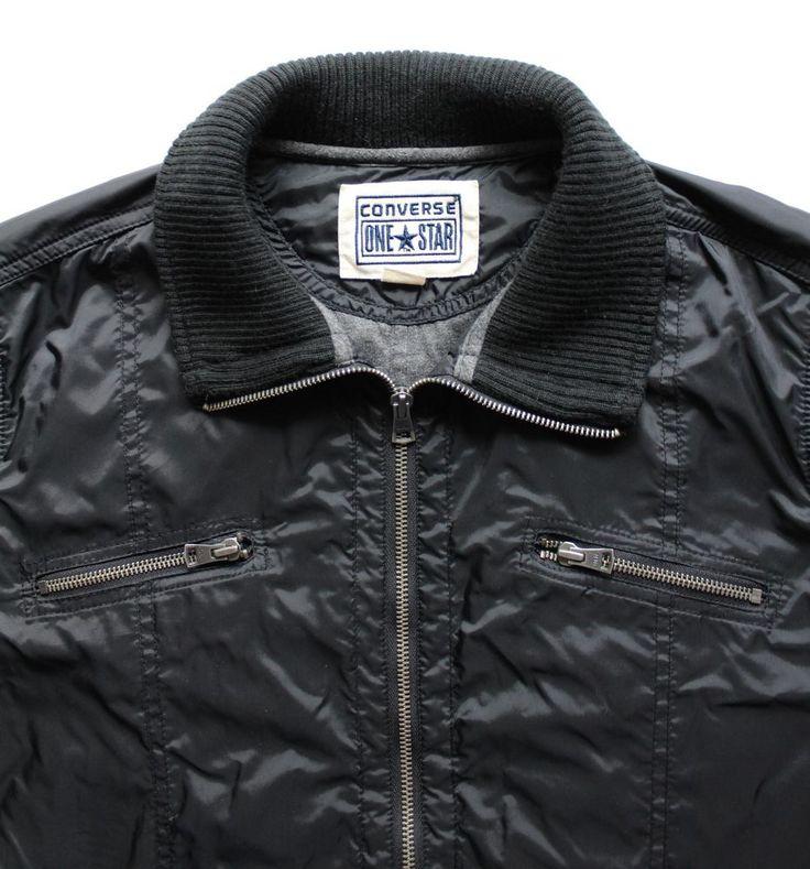 Men's Converse One Star Nylon Black Bomber Style Jacket Black Size Medium #Converse #FlightBomber