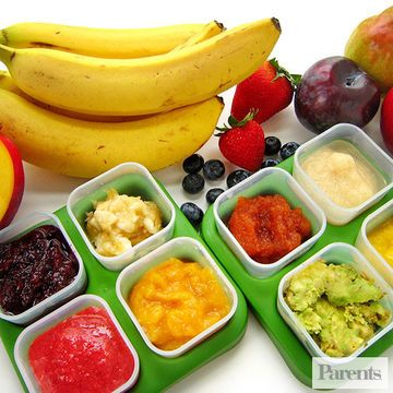 Babies typically start fruit with their morning meal after they've tried several green and yellow veggies. Rather than buying baby food at the store, consider making your baby's fruit purees at home. There are many advantages to the DIY approach, including knowing exactly what's in your baby's food and saving money since store-bought baby food tends to be more expensive than homemade.