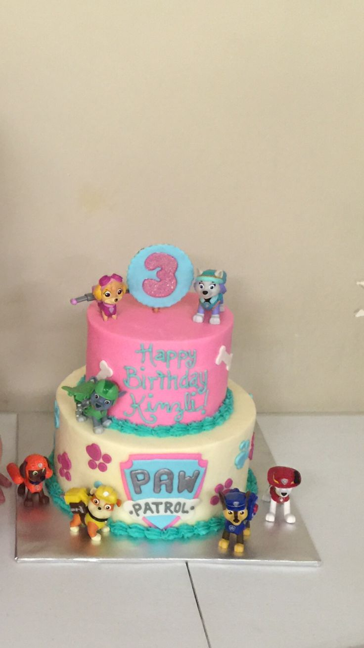 "paw patrol birthday cake for girls ""Kinzli's 3rd Birthday""."
