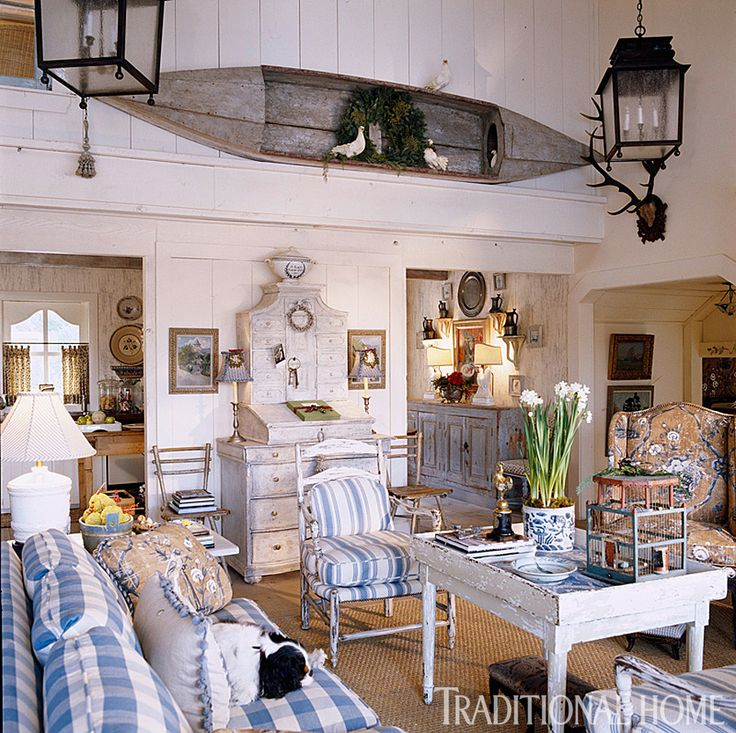 Swedish Influence Seen In Blue And White Checks Stripes Paired With Antique Painted Wood By Interior Designer Charles Faudree
