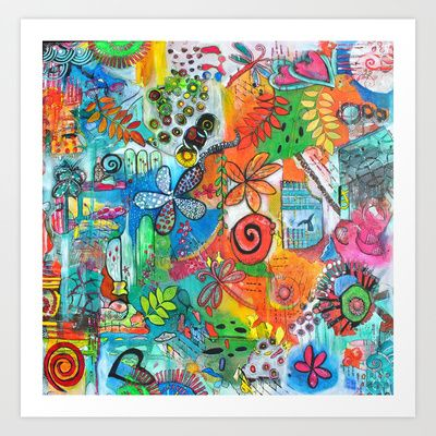 Whimsical Flower Power Art Print by Art by Astrid - $17.68