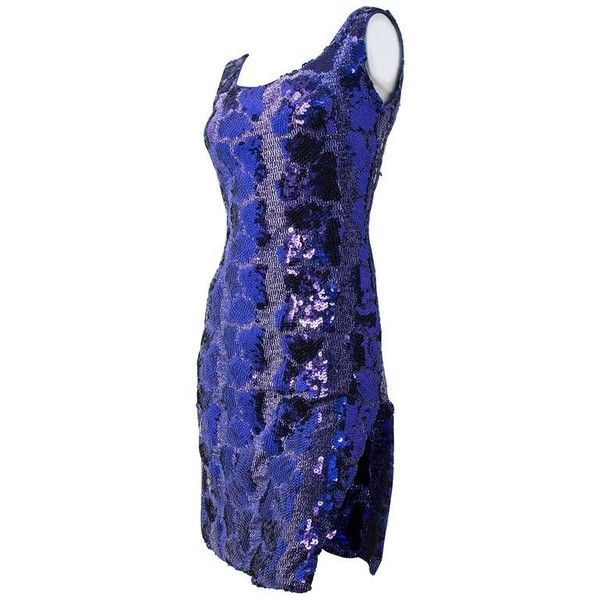 Preowned 80s Purple Sequin Snake Pattern Dress (1.600 DKK) ❤ liked on Polyvore featuring dresses, evening dresses, purple, purple sequin dress, blue sequin cocktail dress, 1980s dresses, snakeskin print dress and purple dress