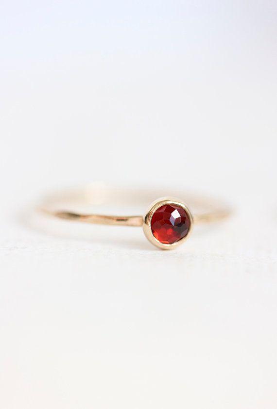 Yellow gold garnet stacking ring, January birthstone, rose cut, thin delicate ring, red gemstone, delicate gold ring, solid gold ring
