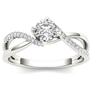 De Couer 10k White Gold 1/2ct TDW Diamond Engagement Ring (H-I, I2) with Bonus Necklace