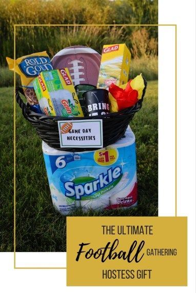 #ad #homegatingheroes football season, football, football hostess gift, hostess gift, football gathering, gathering gift, glad, sparkle paper towel, football party, party gift