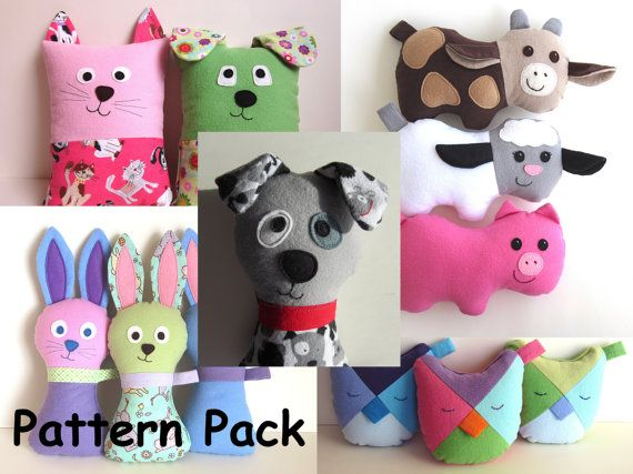 DIY Baby Gifts Pattern Pack by My Funny Buddy with Scruffy Dog, Cow, Pig, Lamb, Owl, Bunny, Dog, Cat Tooth Fairy Pillow PDF Sewing e-book