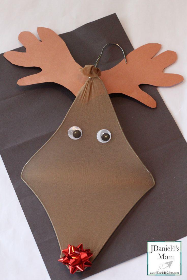 Christmas Crafts for Kids- Coat Hanger Reindeer
