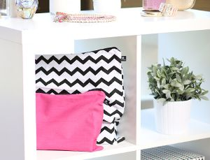 Pink and Chevron handbag covers by Kazzi Kovers. Fun way to organise your closet and protect your handbags.