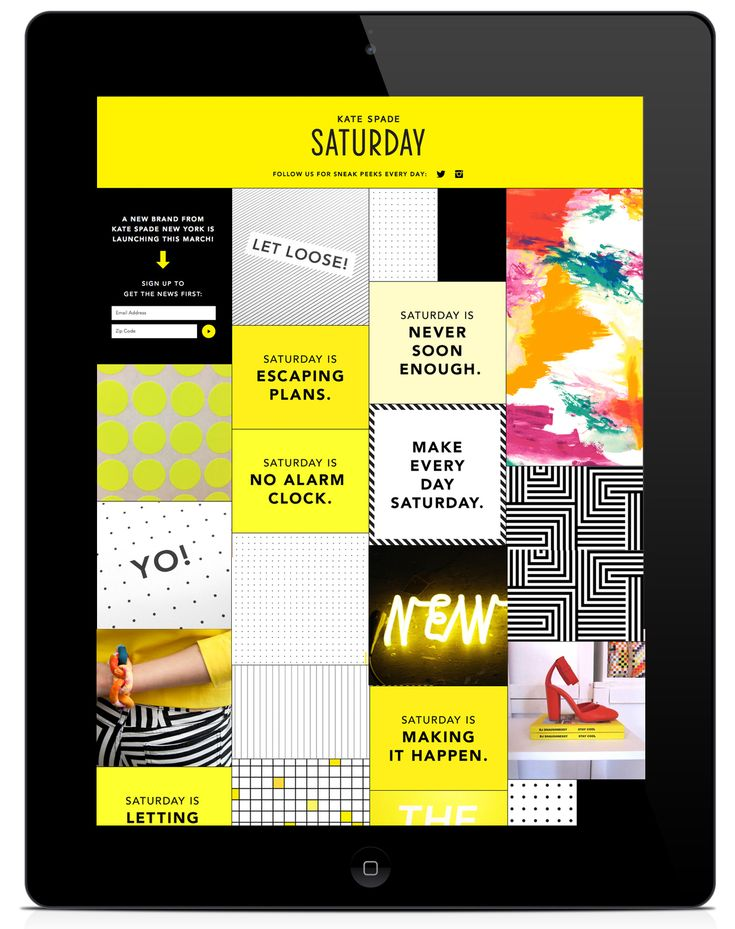 Kate Spade Saturday Launch Campaign iPad App #UI | Grid based user interface design