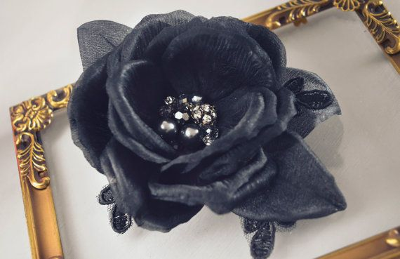 Black Rose Hair Clip,Hair Flowers, Floral Hairpiece,Vintage Style, Gothic Fascinator, Black Bridal Accessories - Pin Up -