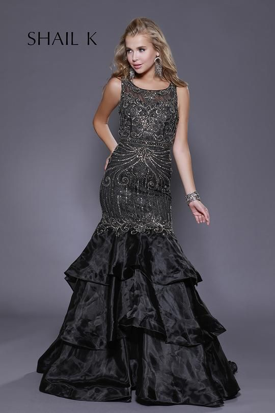 c996a119e59 Sheer Illusion Embellished Black Mermaid Style Prom Dress 33919 in ...