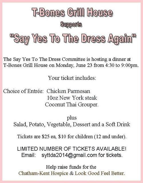 June 23, 2014 #SayYesToTheDressAgain https://www.facebook.com/TBonesGrillHouse