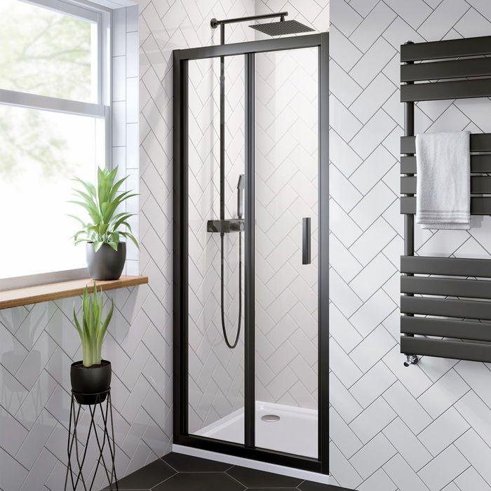 800mm 6mm Elements Easyclean Bifold Shower Door Soak Com Bifold Shower Door Shower Doors Modern Shower Doors