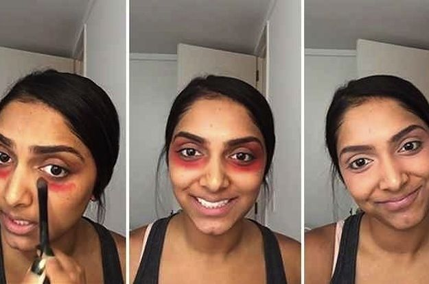 Dark circles under your eyes?  Here's what you do: Start by dabbing an eyeshadow blending brush into orange-red or coral lipstick. Apply the red underneath your entire eye and up over the lid, covering the area around your eye socket.