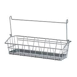 IKEA - BYGEL, Wire basket, , Can be hung on BYGEL rail, fixed to the wall or the inside of a kitchen cabinet frame or door.Saves space on the worktop.