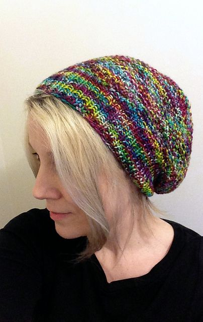 Ravelry: Whitman pattern by Danielle Morgan.  Moss stitch slouchy hat. I will try this with my generic hat pattern with variegated worsted yarn.