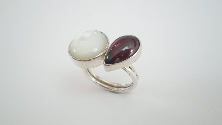 Handmade Silver Ring with Onyx and Mother Pearl by IoJewellery on Etsy