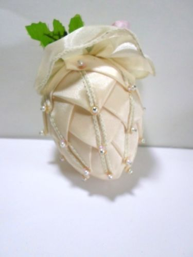 Artichoke-Pineapple-Pinecone-Christmas-Ornament-Folded-Ribbon-Points-Pins-Pearls