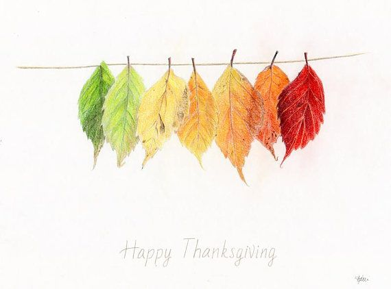 Happy Thanksgiving Leaves Original Colored Pencil Drawing
