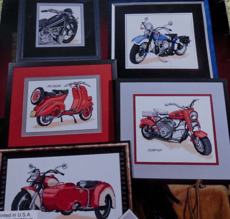 ***SOLD*** Stoney Creek 7 VINTAGE CYCLES Cross Stitch Chart #Vespa #Cyclone #Indian #Motorcycle #StoneyCreek #Chopper #CrossStitch