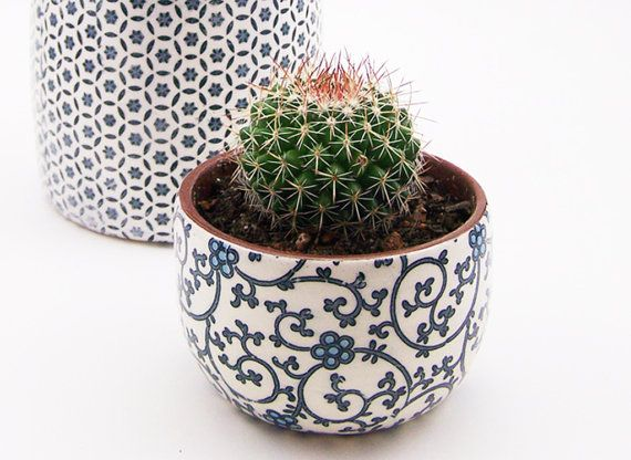 Small Patterned Pottery Planter- Succulent Planter - Storage Pot - Terracotta Planter - Cactus Planter - MADE TO ORDER