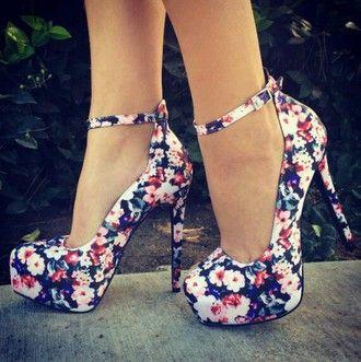 shoes high heels floral high heels