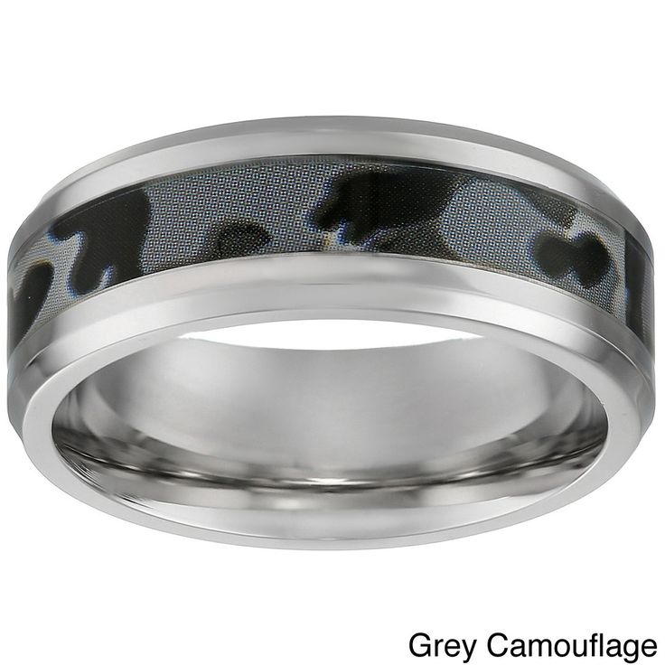 Stainless Steel Men's Camouflage Accent Ring