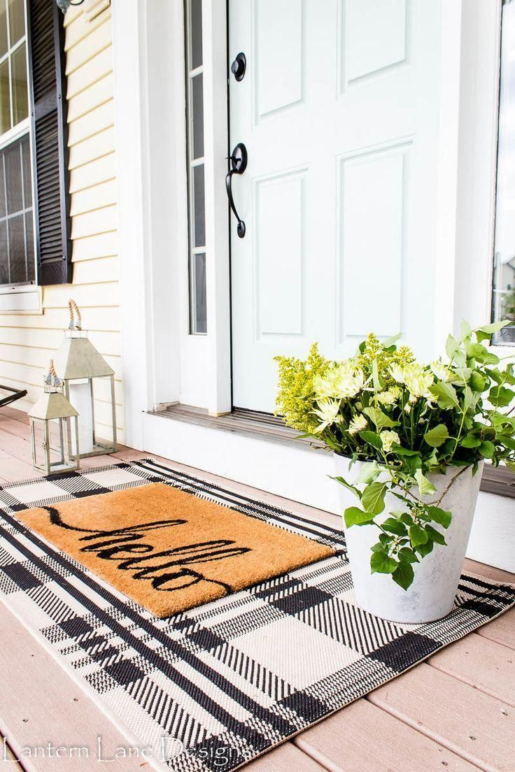 Layered Front Door Mat Modern Farmhouse Entryway Decor Inspiration Porch Decorating Front Porch Decorating House Styles
