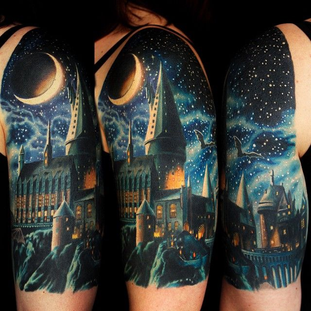 Amazing Harry Potter Hogwarts tattoo by Jamie Schene!