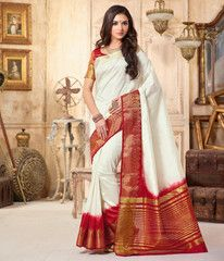Off White & Red Color Tusser Silk Festival & Party Wear Sarees : Pranali Collection  YF-40692