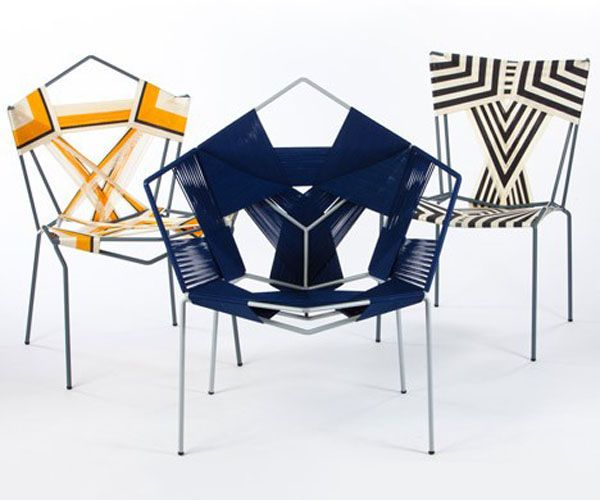 Rami Tareef has created this series of geometric patterned chairs by applying skills he learned from a wicker craftsman in the Old City of Jerusalem to spare steel frames, wrapping and weaving coloured cords of polypropolene to create strikingly graphic contempoary