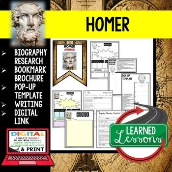Homer Biography Research, Bookmark Brochure, Pop-Up Writing Google