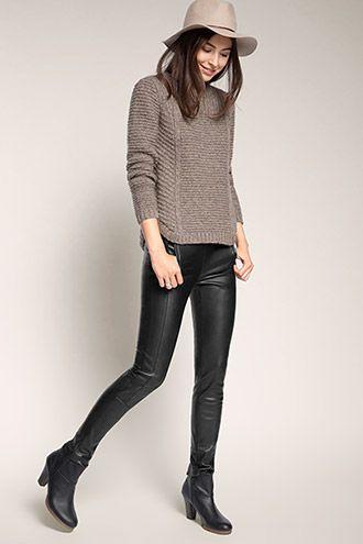 Esprit - Softe Leggings in Leder-Optik mit Zippern im Online Shop kaufen