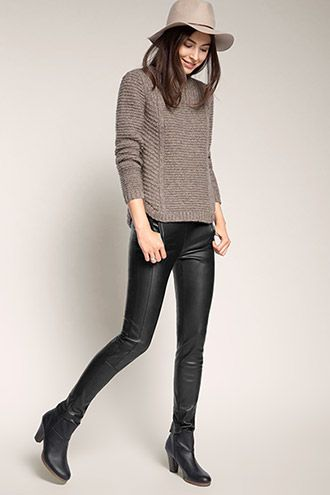 Esprit - Softe Leggings in Leder-Optik mit Zippern im Online Shop kaufen
