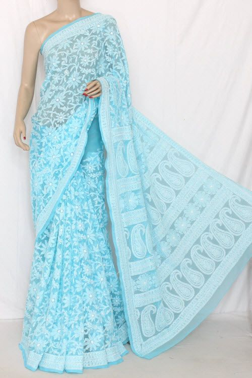 Sky Blue Allover Hand Embroidered Lucknowi Chikankari Saree (With Blouse - Georgette) 14298