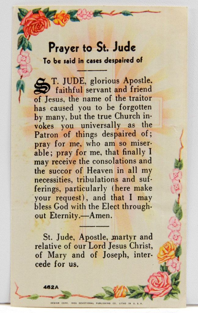 """Prayer to St Jude Vintage Holy Card 1955 """"To be said in cases despaired of"""" 13958 by QueeniesCollectibles on Etsy"""