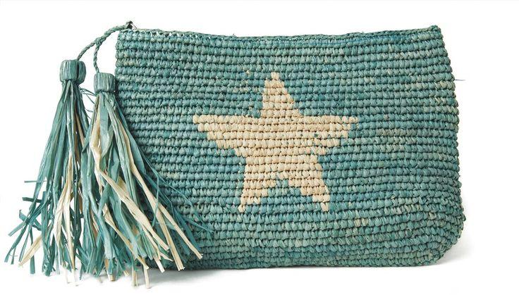 Estella Clutch - Aqua -Fun hand crocheted raffia zip pouch. Use alone or drop in your beach tote as a wallet or cosmetic bag!