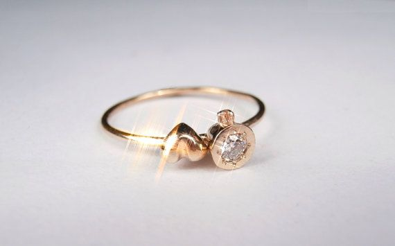 Bistro Love Diamond 14K Yellow Gold Ring .