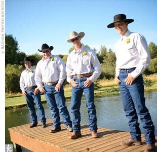 The Groomsmen Dressed In Part Of Casual Western Wedding Wranglers Blue Jeans And Stetson Shirts