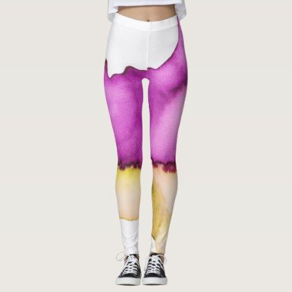 Ombre watercolor ikat hipster neon purple yellow leggings - white gifts elegant diy gift ideas