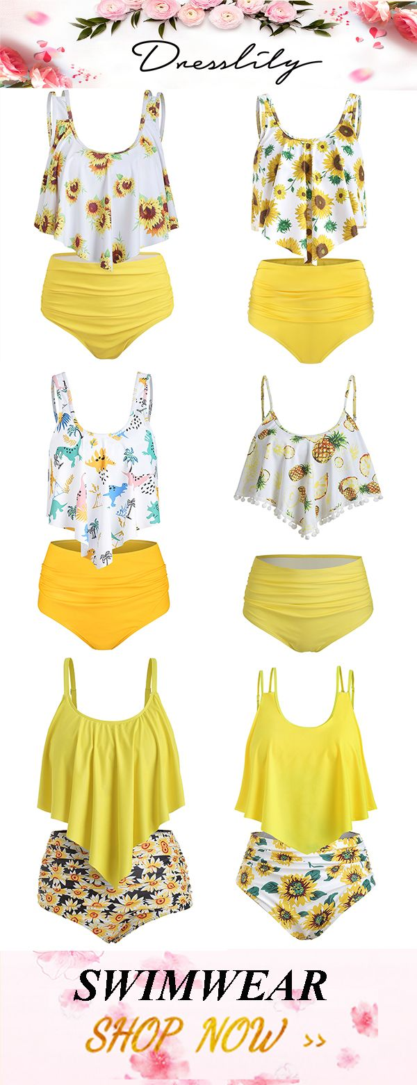 74b7d05c0f Dresslily various pattern styles to make your summer more beautiful.  Sunflower striped ruched tankini set