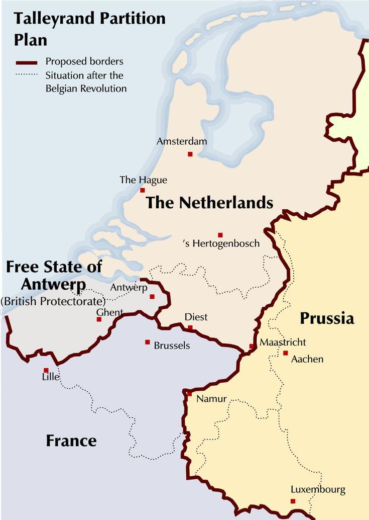 """Map of Partitioning Talleyrand. Een hoogst interessante visie door een Frans politicus. België zou niet bestaan hebben, Vlaanderen zou grosso modo Engels zijn, voor een groot stuk ook verfranst, en de rest verdeeld over Nederland en """"Pruisen"""". Soms kan je ook blij zijn met de gang van zaken zoals het geworden is..."""